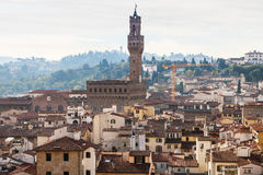 Above view of city center with Palazzo Vecchio Stock Image