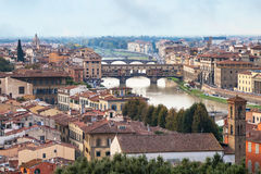 Above view city and of ponte vecchio in Florence Royalty Free Stock Photo