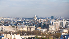 Above view cityscape with Pantheon in Paris city Stock Photos