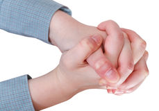 Above view of clenched hands - hand gesture Royalty Free Stock Photography