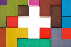 Above view of cross shape hole in puzzle Stock Image