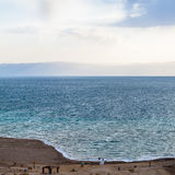 Above view of Dead Sea from Jordan coast in winter Stock Photography