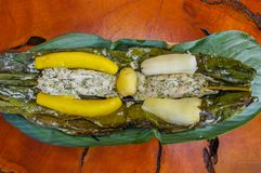 Above view of delicious typical amazonia food, fish cooked in a leaf with yucca and plantain, served in a wooden plate Stock Image
