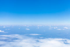 Above view earth horizon from airplane. Above view blue earth horizon from airplane Royalty Free Stock Photo