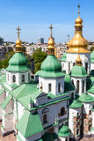 Above view of edifice of Saint Sophia Cathedral. Travel to Ukraine - above view of edifice of Saint Sophia Holy Sophia, Hagia Sophia Cathedral from bell tower in Royalty Free Stock Photography