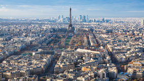 Above view of Eiffel Tower and Paris city Royalty Free Stock Photography