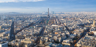 Above view of Eiffel Tower in Paris city in winter Royalty Free Stock Images