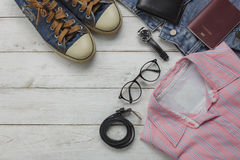 Above view of fashion women clothing for travel concept Stock Photography
