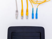 Above view of fiber optic connector Stock Photos