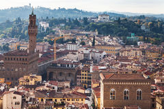 Above view of Florence city with Palazzo Vecchio. Travel to Italy - above view of Florence city with Palazzo Vecchio from Campanile Royalty Free Stock Image