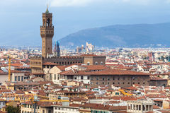 Above view of Florence city with Palazzo Vecchio Stock Photos