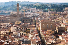 Above view of Florence town with Palazzo Vecchio Royalty Free Stock Images