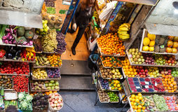 Above view of food in local vegetable shop Stock Images