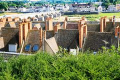 Above view of Gien town and Loire reverbed. Travel to France - above view of Gien town and Loire reverbed in summer day Stock Photos