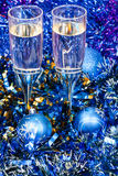 Above view of glasses in blue Xmas decorations Royalty Free Stock Photos