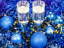 Above view of glasses in blue Xmas decorations Royalty Free Stock Images
