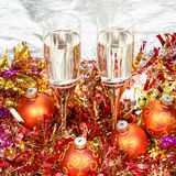Above view of glasses with orange Xmas decorations Stock Image