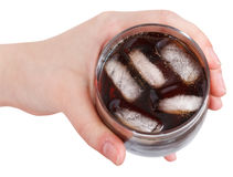 Above view of hand holding cola with ice in glass Stock Photography