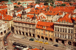 Above view on historical capital with trams and ancient houses. UNESCO World Heritage Register Royalty Free Stock Image