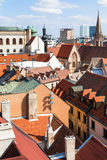 Above view of houses in old city of Bratislava Stock Photo