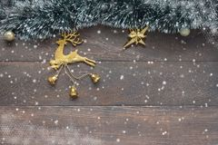 Above view image of beautiful gold reindeer decoration merry Christmas Royalty Free Stock Image