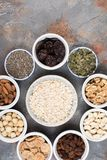Ingredients for homemade granola on the grey Stock Image