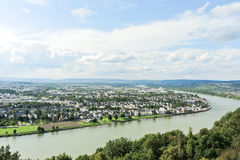 Above view of Koblenz town, germany Stock Image