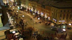 Above view at Krakowskie Przedmiescie, Warsaw stock video