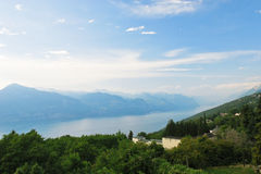 Above view of Lake Garda from Monte Baldo, Italy Stock Images