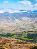 Above view of landscape of Promised Land in winter. Travel to Middle East country Kingdom of Jordan - above view of landscape of Promised Land from Mount Nebo in Royalty Free Stock Photos