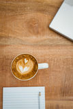 Above view of a laptop and a coffee Royalty Free Stock Photo