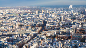 Above view of large Paris city in winter twilight Stock Photography