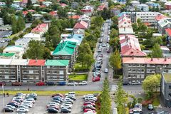 Above view of Leifsgata street in Reykjavik city Royalty Free Stock Image