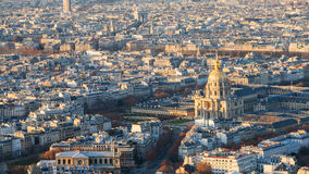 Above view les invalides palace and Paris city Royalty Free Stock Photo