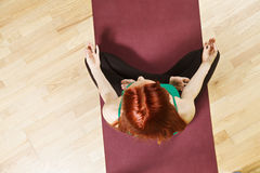 Above view at lotus pose Royalty Free Stock Photo