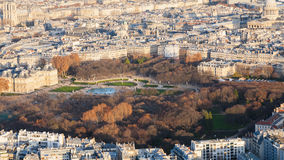 Above view of Luxembourg garden in Paris town Stock Photos