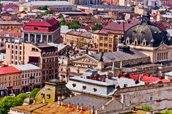 Above view on Lviv Ukraine. Above view City Hall on Lviv Ukraine Royalty Free Stock Images