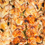 Above view of many roasted spicy chicken wings Royalty Free Stock Images