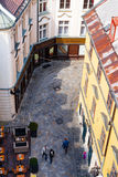 Above view of Michalska street with cafe and shops Stock Photos