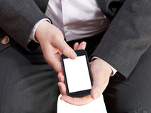 Above view of mobile phone in businessman hand Stock Images