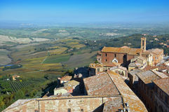 Above view of Montepulciano old town in Tuscany in Italy Royalty Free Stock Photos