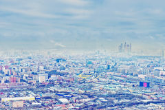 Above view Moscow cityscape in autumn Royalty Free Stock Photo