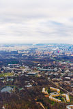 Above view Moscow cityscape and blue clouds Royalty Free Stock Photos