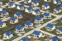 Free Above View Of New Cottages With Lawn Stock Image - 99417681