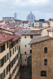 Above view of old houses in Florence city in rain Royalty Free Stock Images