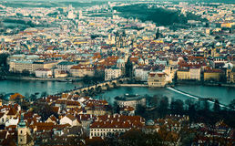 Above view of Old Prague tinted Stock Photography