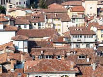 Above view of old residential houses in Bergamo. Travel to Italy - above view of old residential houses from Campanone (Torre civica) bell tower in Citta Alta ( stock photo
