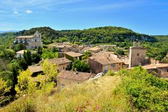 View overlooking the old town of Saignon, Provence, France Royalty Free Stock Images
