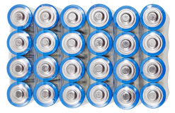 Above view of pack AA electric batteries isolated Stock Image