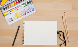 Above view of painting supplies Royalty Free Stock Images
